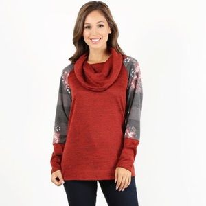 Relaxed fit tunic top with cowl neckline